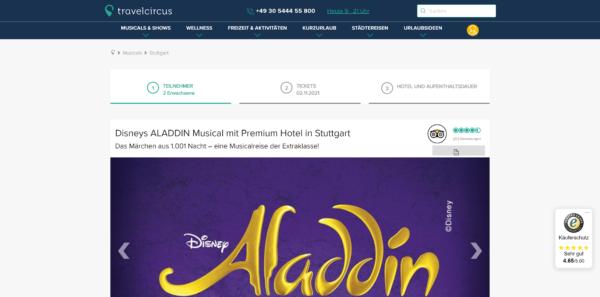 Disneys Aladdin-Musical mit Premium-Hotel in Stuttgart