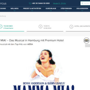 MAMMA MIA! - Das Musical in Hamburg mit Hotel