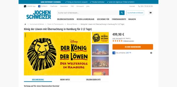König der Löwen mit Übernachtung in Hamburg für 2 (2 Tage)