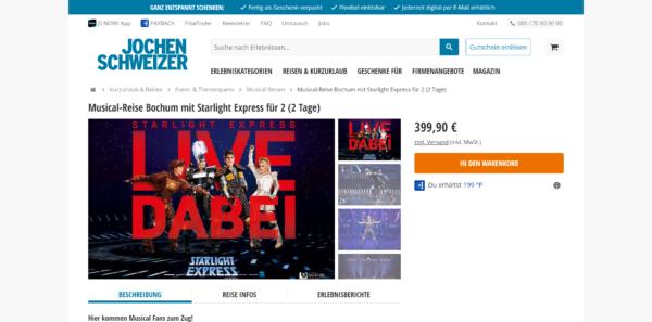 Musicalreise Bochum mit Starlight Express für 2 (2 Tage)