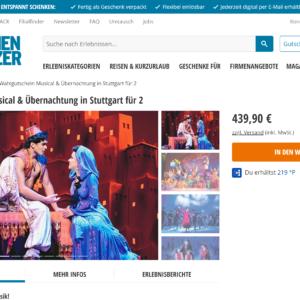 Wahlgutschein Musical & Übernachtung in Stuttgart für 2